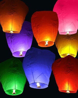 Multi-Color Chinese Sky Paper Wish Fire Lamp Lantern  # For Wedding dj875