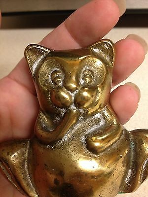 "Small brass cat figurine 2.5"" cute paperweight"