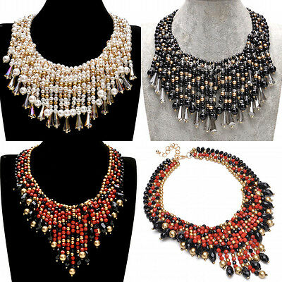 Fashion Chain Jewelry Pearl Resin Beads Crystal Collar Choker Pendant Necklace