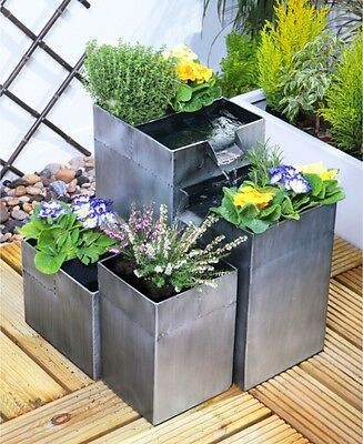 Silver Planter Cascade Water Feature Fountain 4 Tiered Modern Cube Design
