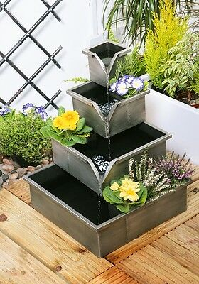 Silver Planter Bucket Water Feature Fountain Four Tiered Cascade Herbs Contained
