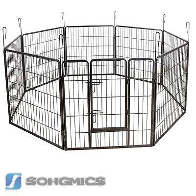 Large 8 Sided Heavy Duty Dog Pet Pen Playpen Exercise Whelping Cage Grey PPK88G