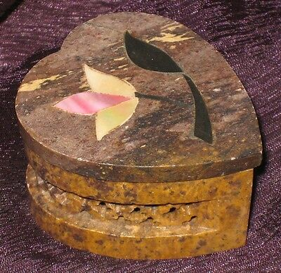 Vintage Hand Carved Heart Shaped Soap Stone Trinket Box w/ MOP Inlay Flower