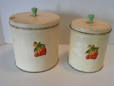 2 VINTAGE MID CENTURY 40-50'S NESTING TIN CANISTERS W/ CHERRY DECAL, GREEN KNOBS