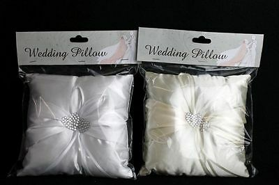 WEDDING RING CUSHION PILLOW 19x19cm WITH JEWELLED HEART CENTRE WHITE & IVORY UK!