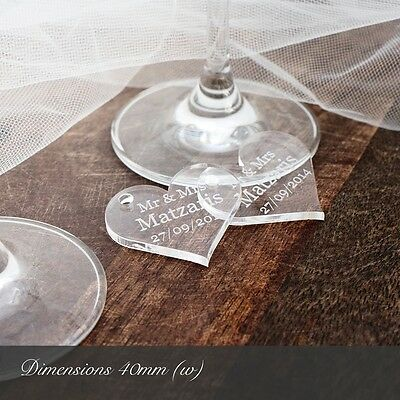 Personalised 4cm Clear Acrylic Heart Wedding Favours for Invitations Decorations