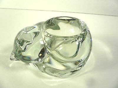 Indiana Glass Crystal Sleeping Cat Kitty Votive Tea Light Candle Holder Vintage