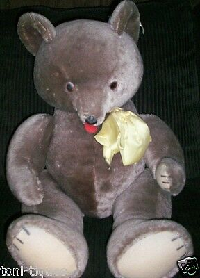 """Antique/Vtg 24""""  Brown Fully Jointed 50s Mohair Character Novelty Co.Teddy Bear"""
