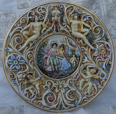 """LARGE EB CAPODIMONTE HAND PAINTED MAJOLICA WALL PLATE, GOLD TRIM. 13"""" X 2.25"""""""