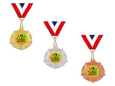 Quiz night trophy 40 mm medal trophies free engraving gold silver bronze family