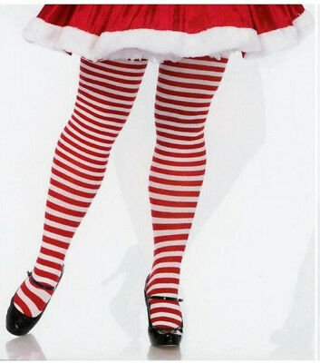 LA 7100 Tights Mrs Santa Elf Pantyhose Striped 1-2X or 3-4X Queen Red & White
