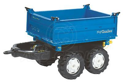 Rolly Toys BLUE Mega Trailer Twin Axle 3 Way Tipping Large For Rolly Tractors