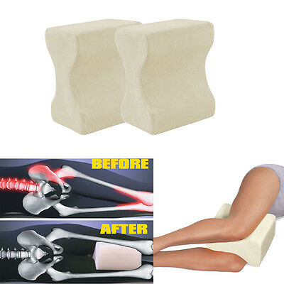 2 x CONTOUR MEMORY FOAM LEG PILLOW ORTHOPAEDIC FIRM BACK HIPS & KNEE SUPPORT