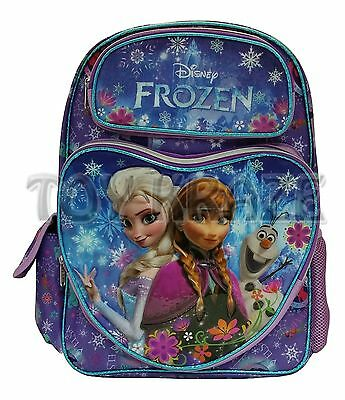 """Disney's Frozen Backpack! Purple Colorful Heart Olaf School Book Bag 16"""" Nwt"""