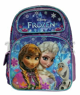 """Disney's Frozen Backpack! Purple Colorful Snow Girl School Book Bag Olaf 16"""" Nwt"""