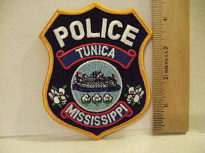 police patch  TUNICA  POLICE MISSISSIPPI GOLD BORDER