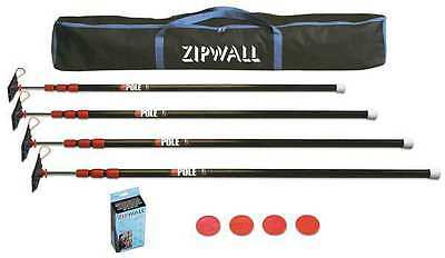 ZIPWALL ZP4 Barrier System,With 4 Steel 10 Ft Poles