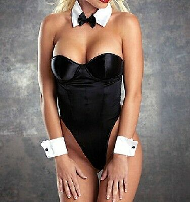 Sexy Women Bunny Black White Role Play Outfit Teddy Halloween Costume Lingerie