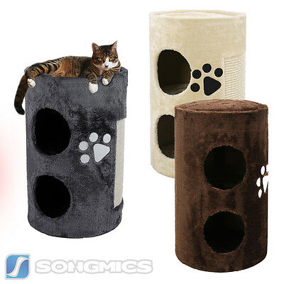 Songmics Arbre à chat griffoir niches Cylindrique 56cm Beige Gris