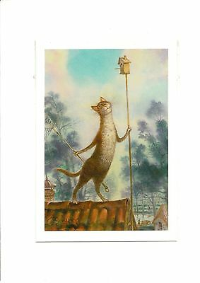 """Author's Russian Painting Funny Postcard Cats / Kitten / Kitty """"Good Morning!"""""""