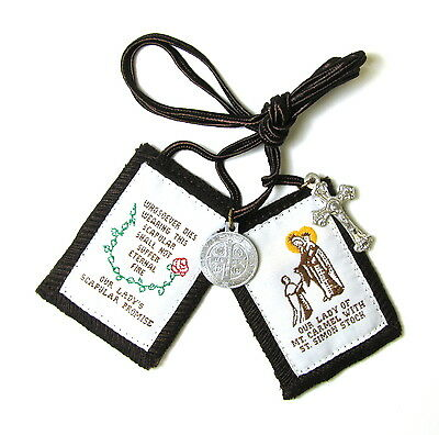 Scapular Regal Brn Our Lady Mt Carmel Brown Scapular 100% Wool & Medals Catholic