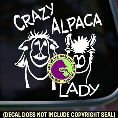 CRAZY ALPACA LADY Vinyl Decal Sticker Love Breed Pack Car Window Trailer Sign