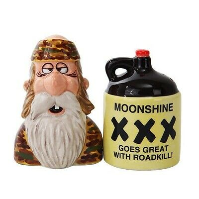Gift Idea Decor Magnetic Salt and Pepper Shakers Moonshine and Hillbilly