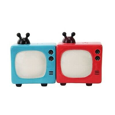 Gift Idea Decor Magnetic Salt and Pepper Shakers Retro Televisions Blue and Red