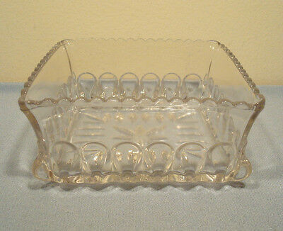 Antique EAPG ADAMS GLASS US CRYSTAL WEDDING Pattern Open Top SQUARE DISH BOWL