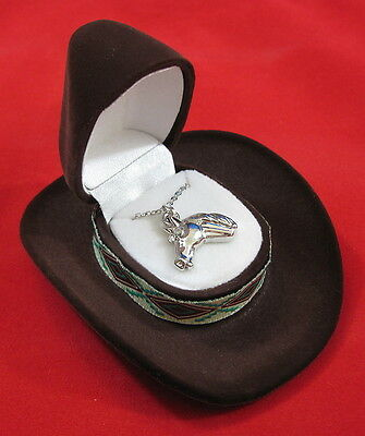 Cowgirl Cowboy Horse Head Western Necklace European Crystal Gift Free Ship Brown