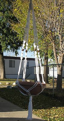 MACRAME PLANT HANGER 48in VINTAGE White - with BEADS