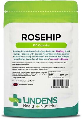 Rosehip 2000mg x 100 Capsules (with Copper); Brain & Joints; Lindens
