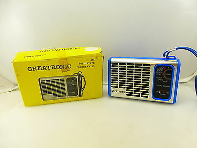 Vintage Greatronic Blue Color AM Pocket Radio Model 26296 With Box