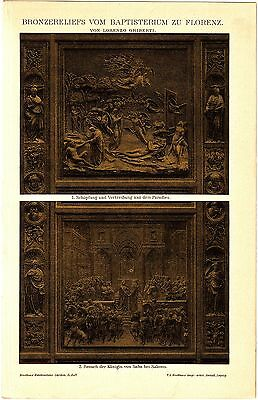 ca 1890 BRONZE RELIEF FROM BAPTISTERY FLORENCE LORENZO GHIBERTI Antique Print