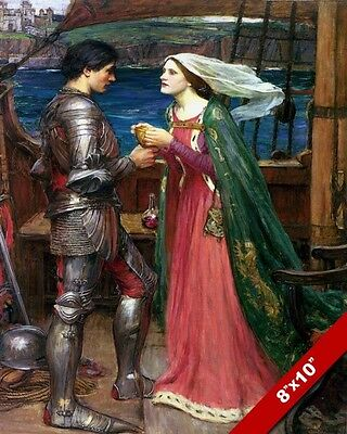 Tristan In Armor Isolde On Ship Wagner Oil Painting Art Real Canvas Giclee Print
