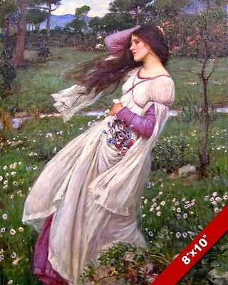 437904b5499 Young Woman Girl In Purple White Dress Oil Painting Art Real Canvas Giclee  Print
