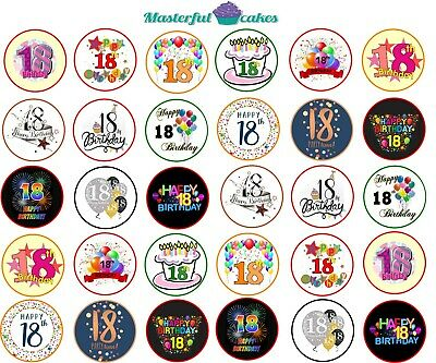 30 x 18th Birthday Design Edible rice paper or Icing Cup Cake Topper