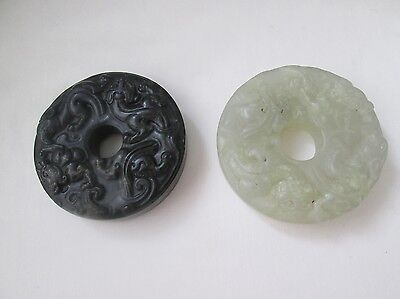 Two Antique Chinese Carved White & Black Jade Bi Disc. Double Sided.