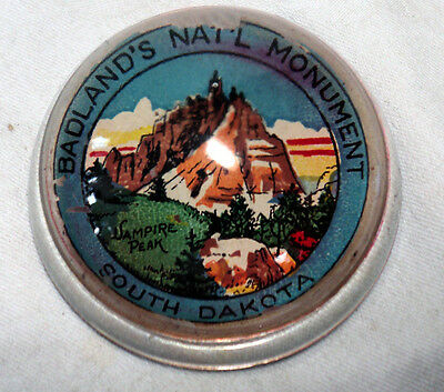 old Glass Paperweight BADLANDS Monument  South Dakota