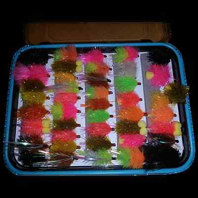 Flextec Assorted Fly Fishing Blob Flies Fly Selection in Fly Box x 44pcs