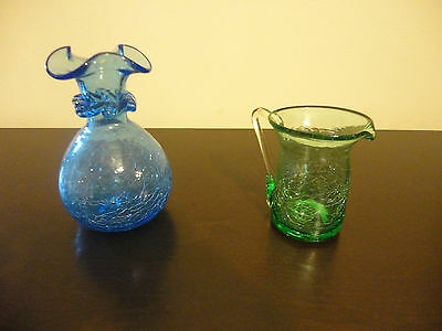 Vintage Hand Blown Crakle Glass Blue Vase & Green creamer/pitcher
