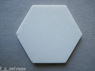 Antique Vintage White Hex Floor Tile 1920's Lot of 15 Pieces