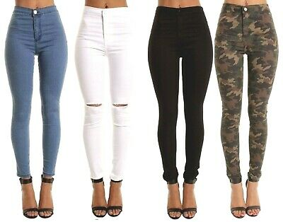 WOMENs High Waisted Skinny Ripped JEANS Ladies Hot Jeggings Pants 8 10 12 14 16
