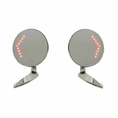 50 - 60's Led Turn Signal Rear Side View Outside Chrome Trim Door Mirrors