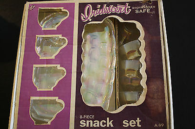 Vintage Federal Glass Co Iridescent Glass Snack Trays & Cups 8 Piece Box Set A99