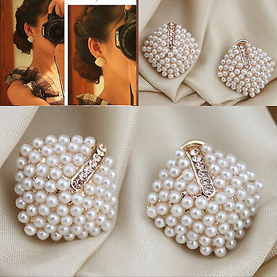 Fashion Temperament Pearl Rhinestone Earrings Geometry Rhombus Party Studs
