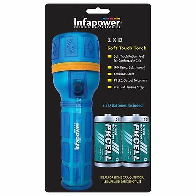 Infapower F021 Blue 2D IP44 Splashproof Soft Touch Rubber F8 LED Torch New