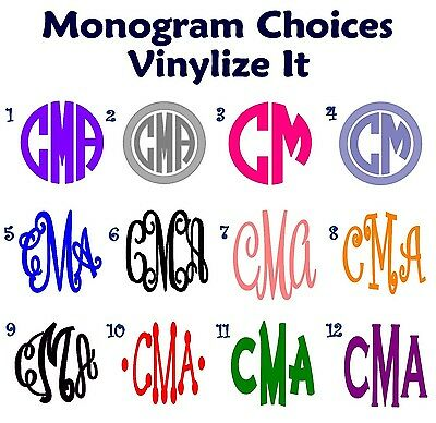 Monogram Initials Vinyl Decal/Sticker   Great for Back to School *FREE SHIPPING*
