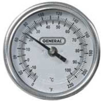 GENERAL T300-36 Bimetal Thermom, 3 In Dial, 0 to 220F