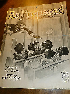 Antique Sheet Music - Be Prepared - Just a Colored Preachers Sermon - 1918